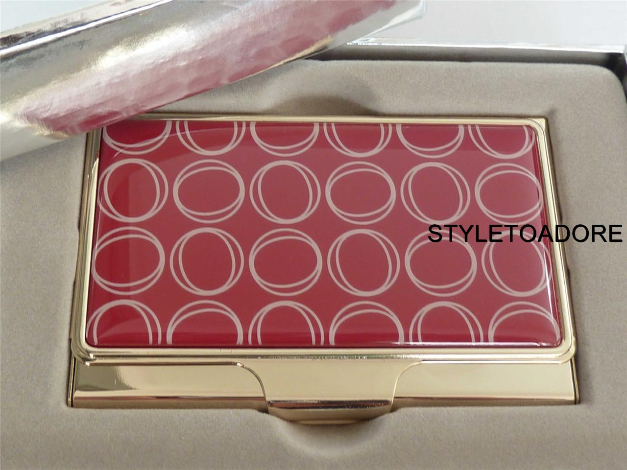 Bnwt oroton business card holder fuji red cream enamel bnwt oroton business card holder fuji red amp reheart Images