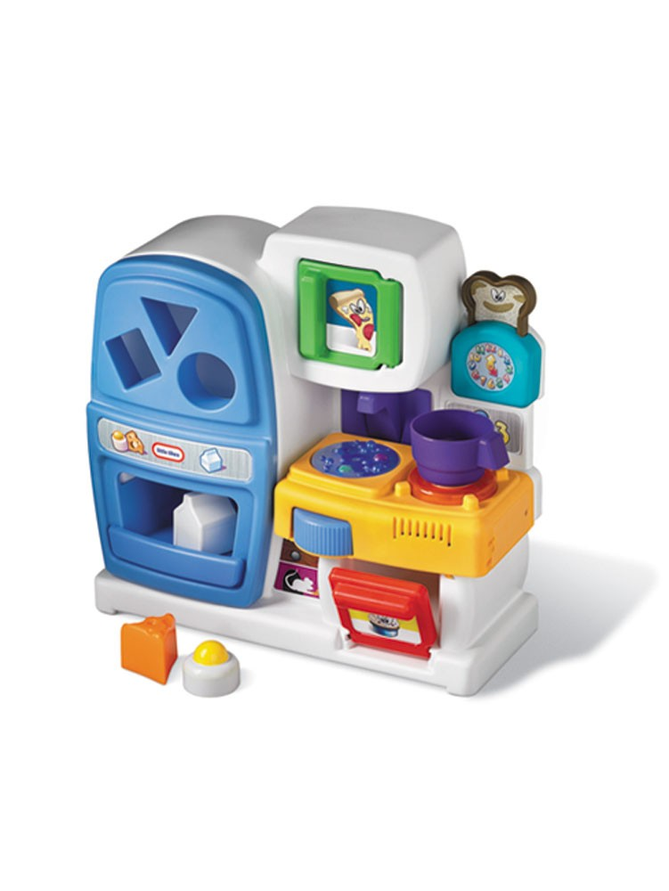 The Little Tikes 18 Piece Gourmet Prep 'n Serve Kitchen Set is a great activity to keep your kids occupied during their free time. This kitchen set includes eighteen kitchen accessories like stool, cutlery, utensils, and play food. It also includes a microwave, oven, and refrigerator with realistic doors.