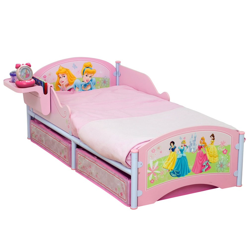 DISNEY PRINCESS TODDLER BED WITH STORAGE MATTRESS