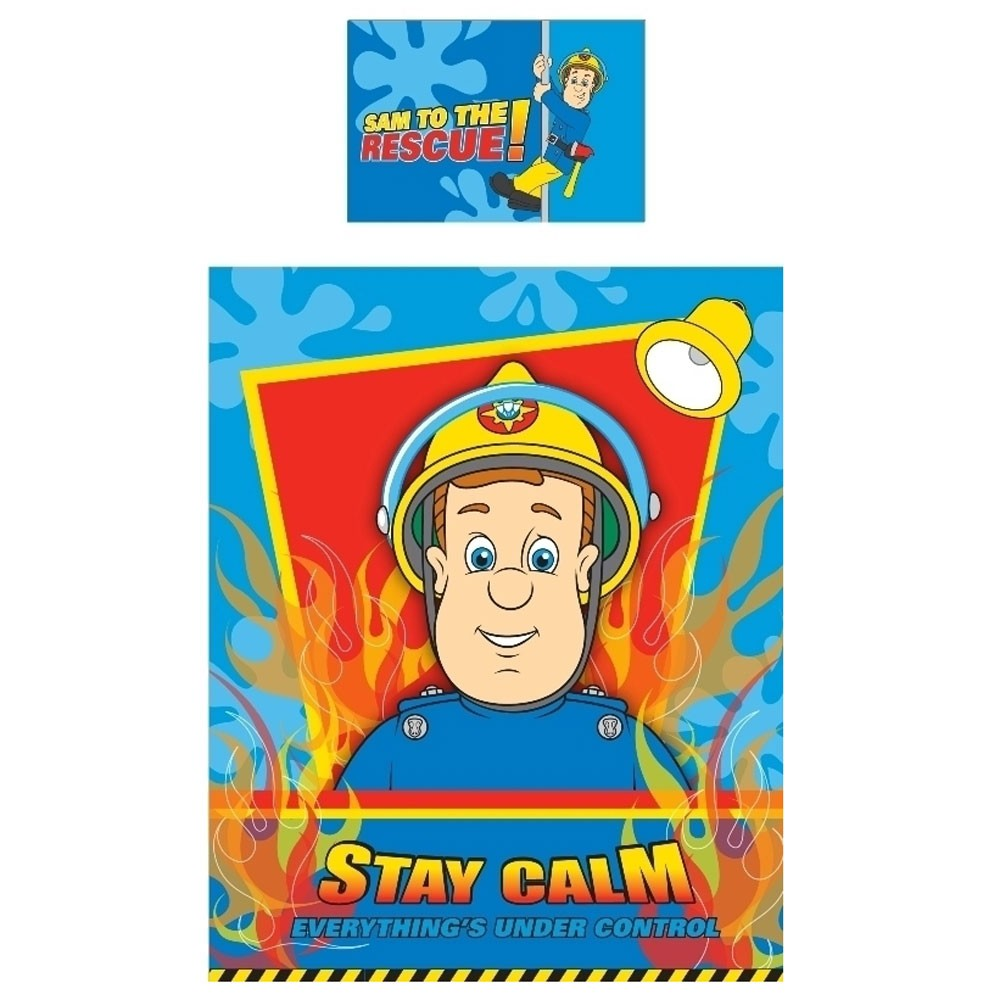 parure housse de couette lit bebe enfant fireman sam 39 hero 39 produit officiel ebay. Black Bedroom Furniture Sets. Home Design Ideas