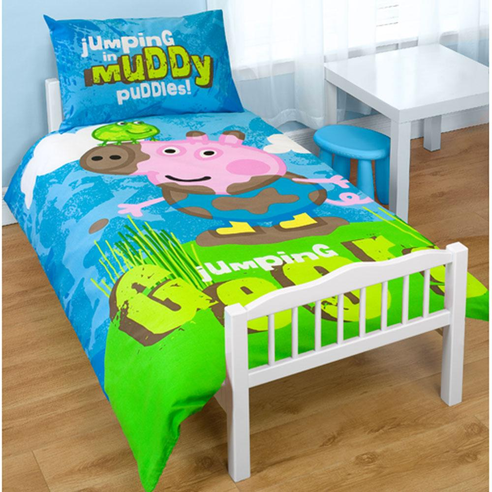 Peppa pig george 39 puddles 39 junior duvet cover cot bed for George pig bedroom ideas