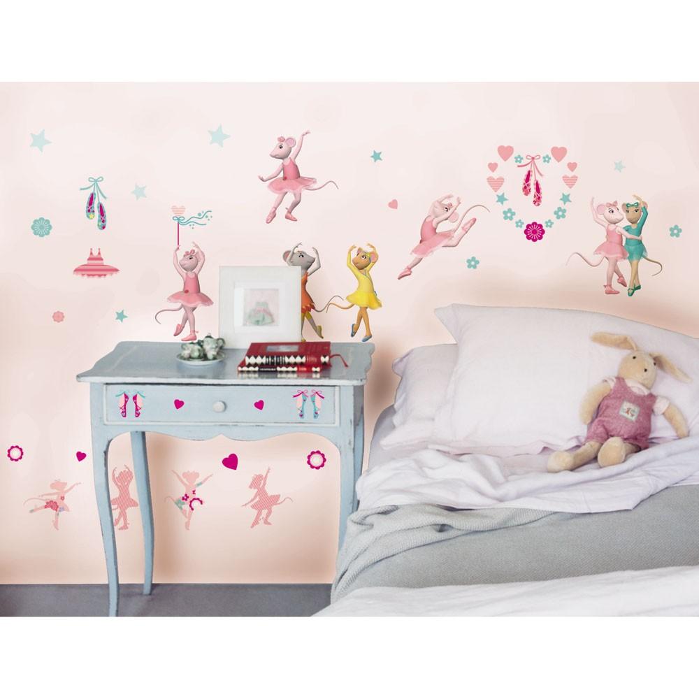 Ballerina wall decals 2017 grasscloth wallpaper details about angelina ballerina stikarounds 48 wall stickers new amipublicfo Gallery