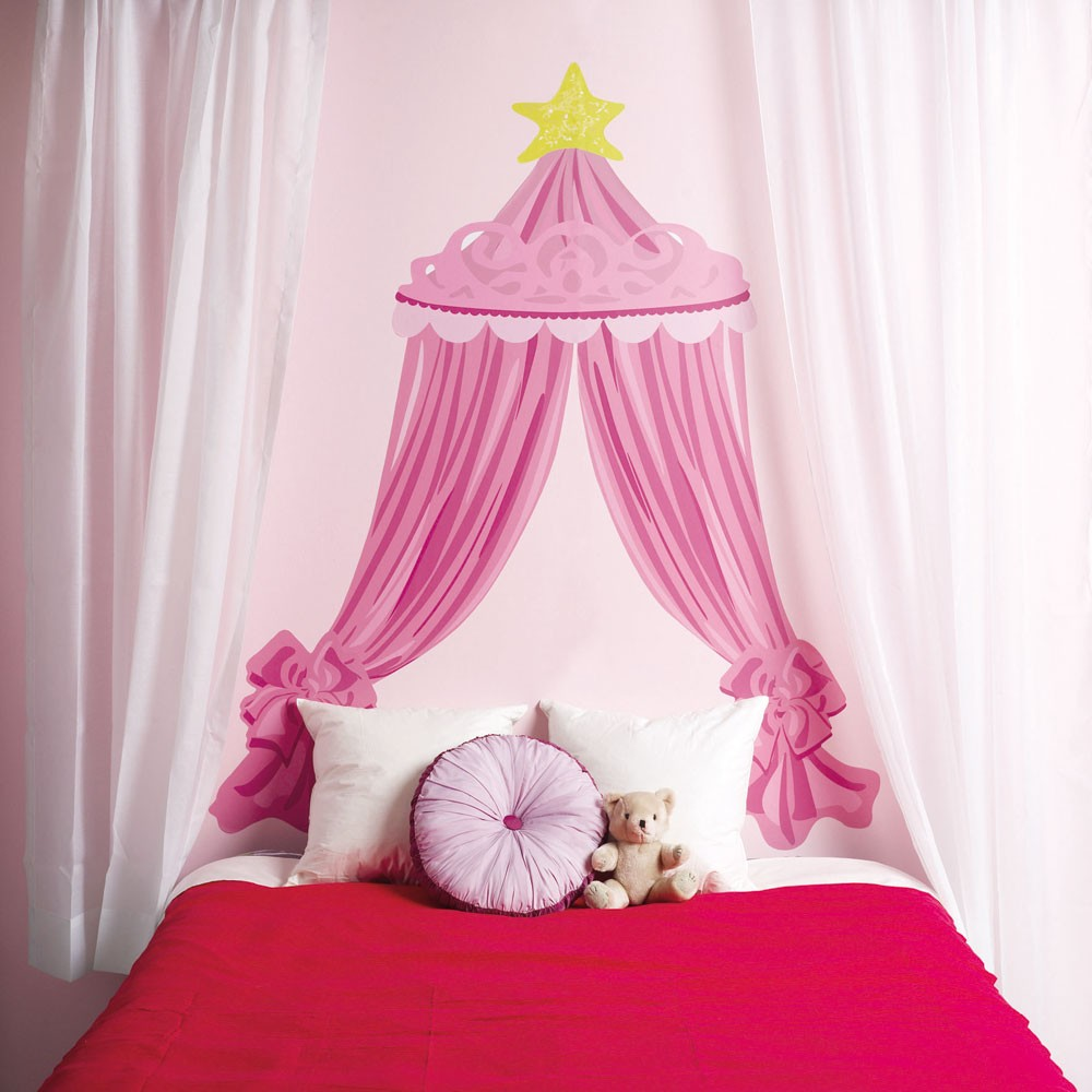 wallies pink bed canopy big mural wall stickers new girls bedroom