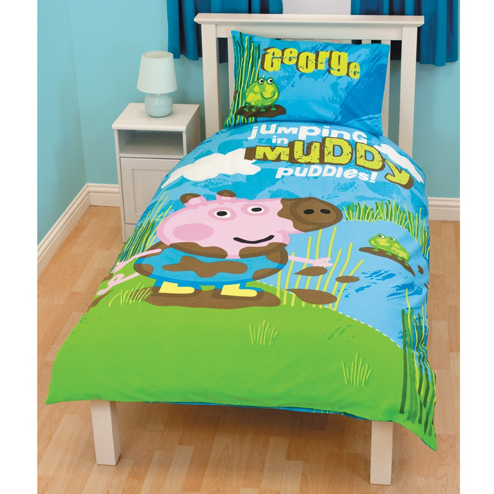 Peppa pig george 39 puddles 39 single duvet cover new ebay for George pig bedroom ideas
