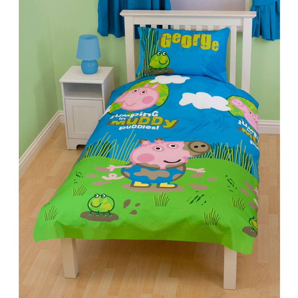 Peppa pig george 39 puddles 39 duvet cover new foc p p ebay for George pig bedroom ideas
