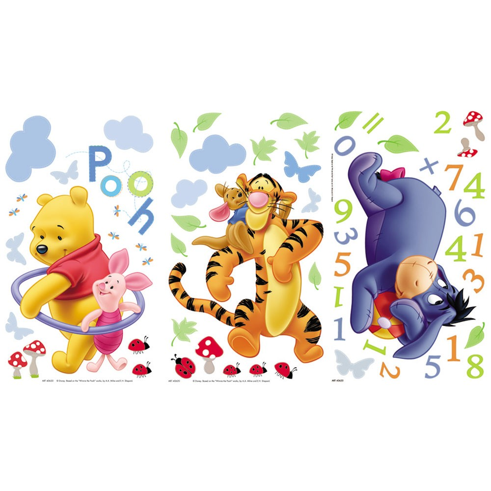 winnie the pooh numbers wall stickers brand new ebay winnie the pooh wall sticker 3 girls boys baby bedroom