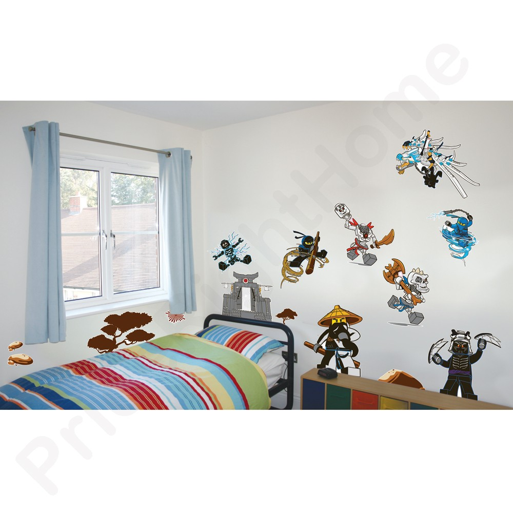 lego ninjago wall stickers official new 25 pieces room decor. Black Bedroom Furniture Sets. Home Design Ideas