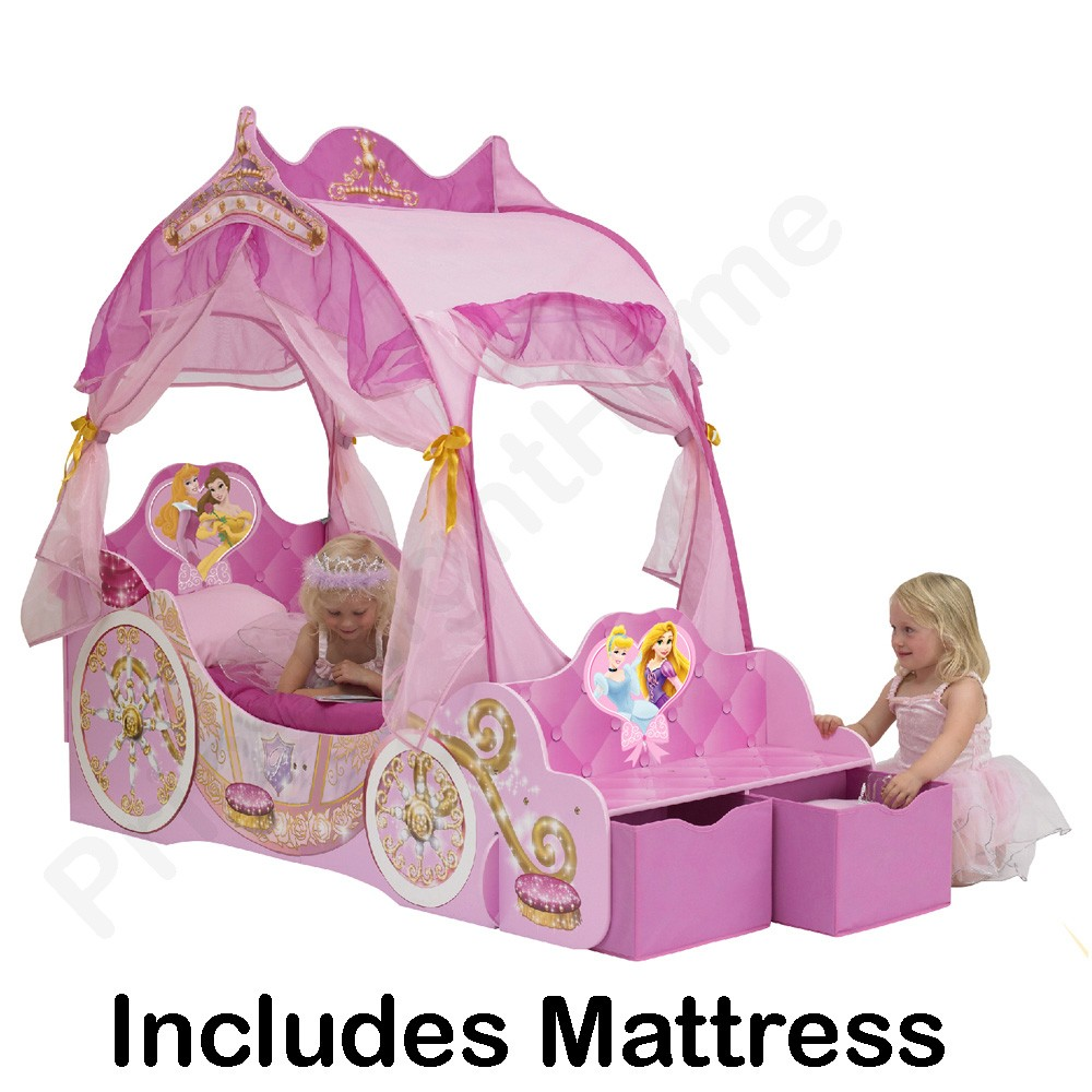 Disney princess carriage toddler bed deluxe mattress ebay for Chambre princesse disney