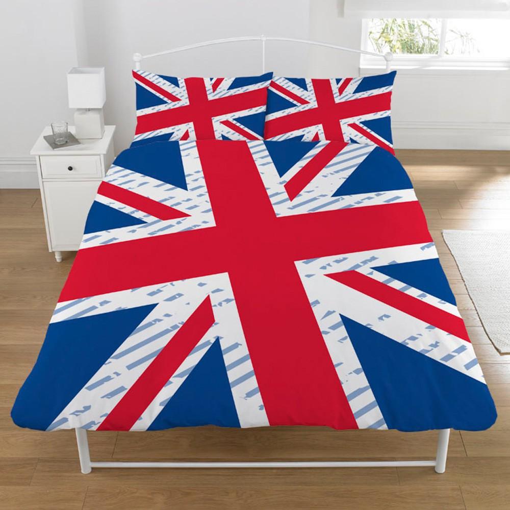 Union jack 39 vintage 39 double duvet cover bedding british for Pink union jack bedding