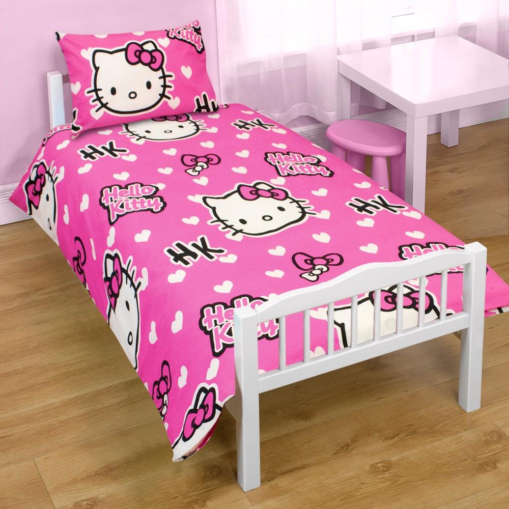 HELLO KITTY JUNIOR COT BED DUVET BEDDING BUNDLE 4 IN 1