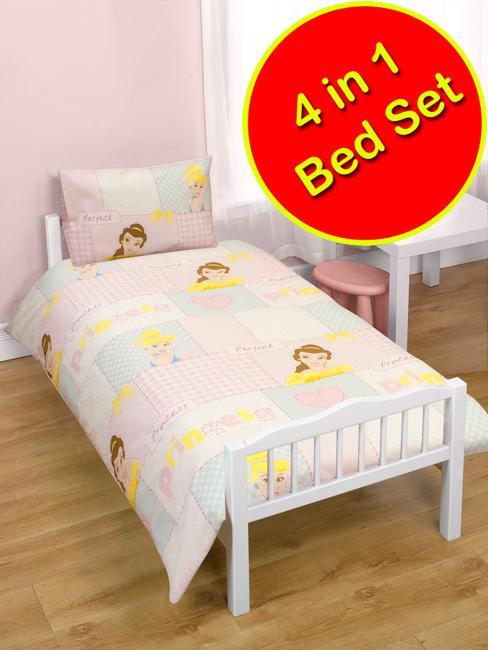4 in 1 bettw sche set kinder junior bett bezug kissen laken neu ebay. Black Bedroom Furniture Sets. Home Design Ideas