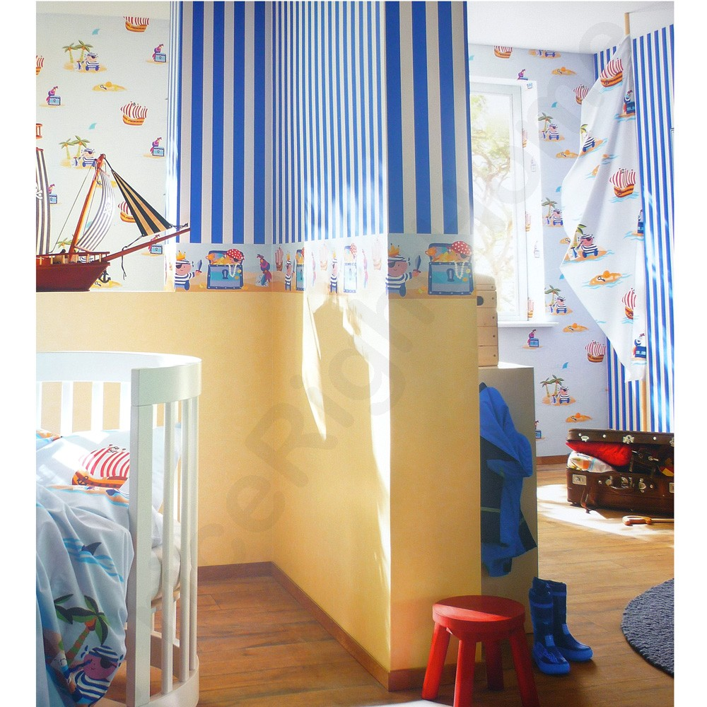 Pirate blue nursery wallpaper borders new sealed pirates for Bedroom nothing lasts chords