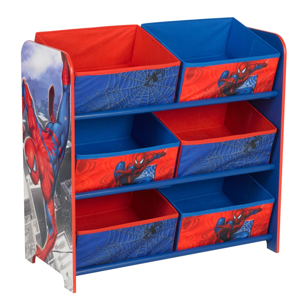 spiderman 6 bin toy storage unit bedroom furniture new