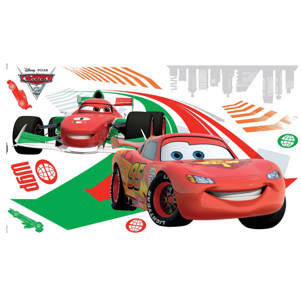 Disney cars large wall sticker set 10 stickers new ebay for Disney cars large wall mural