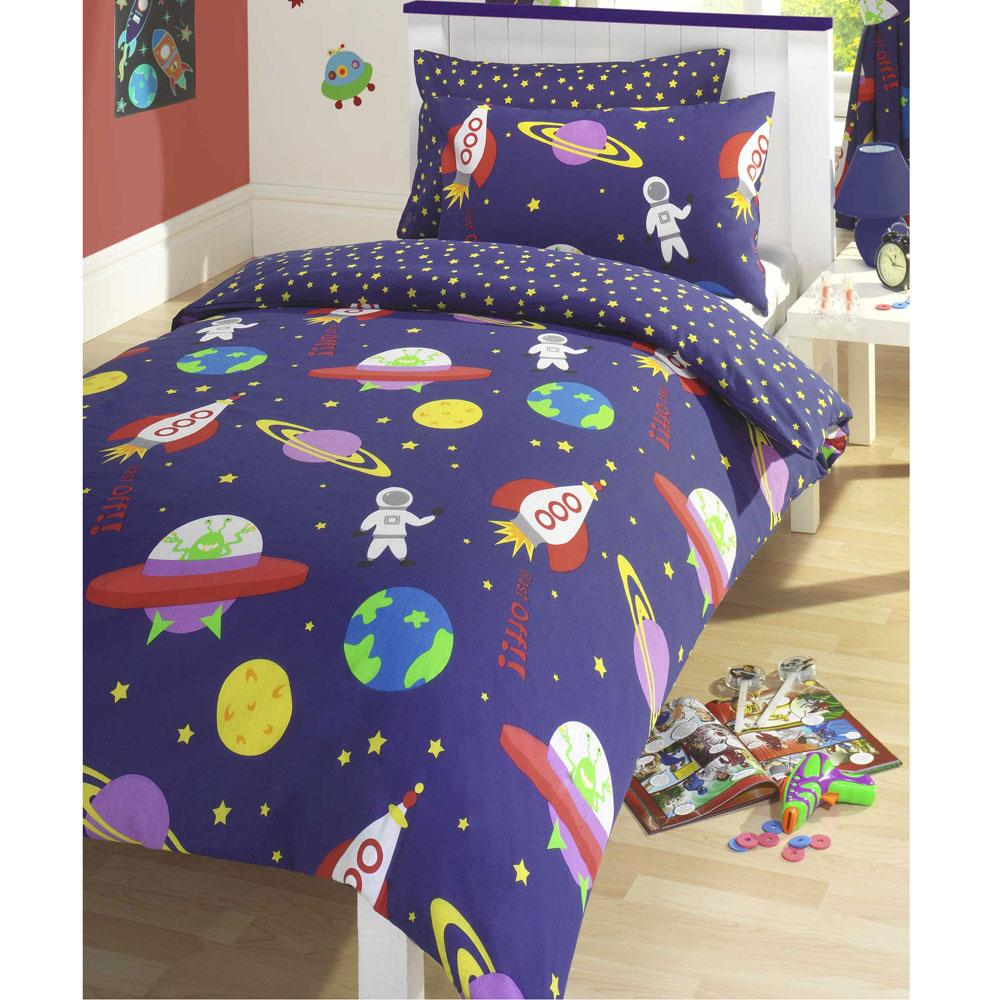 Blast off outer space double duvet cover set kids bedding for Childrens rocket bed