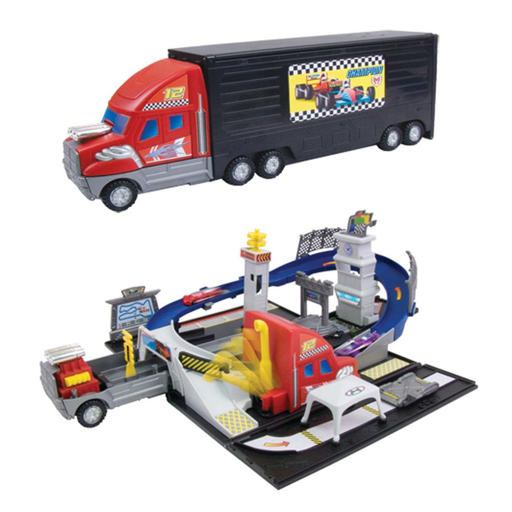 Toy Race Trucks : Transforming truck playset race track new transformer toy