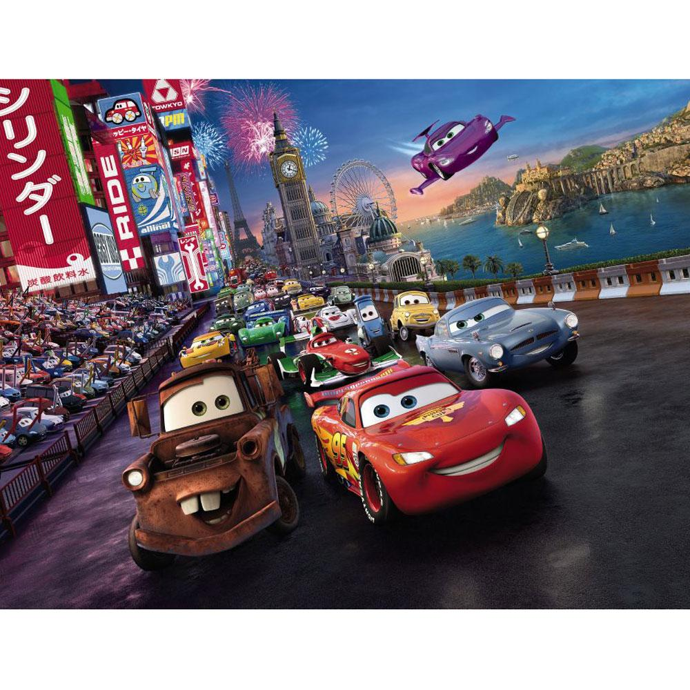 New disney cars 39 race 39 large photo wall mural room decor for Disney cars wall mural