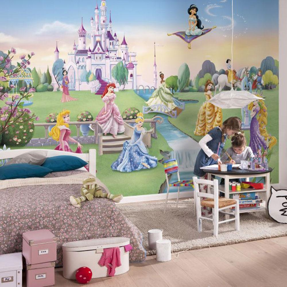 Childrens bedroom disney character wallpaper wall mural for Castle mural kids room