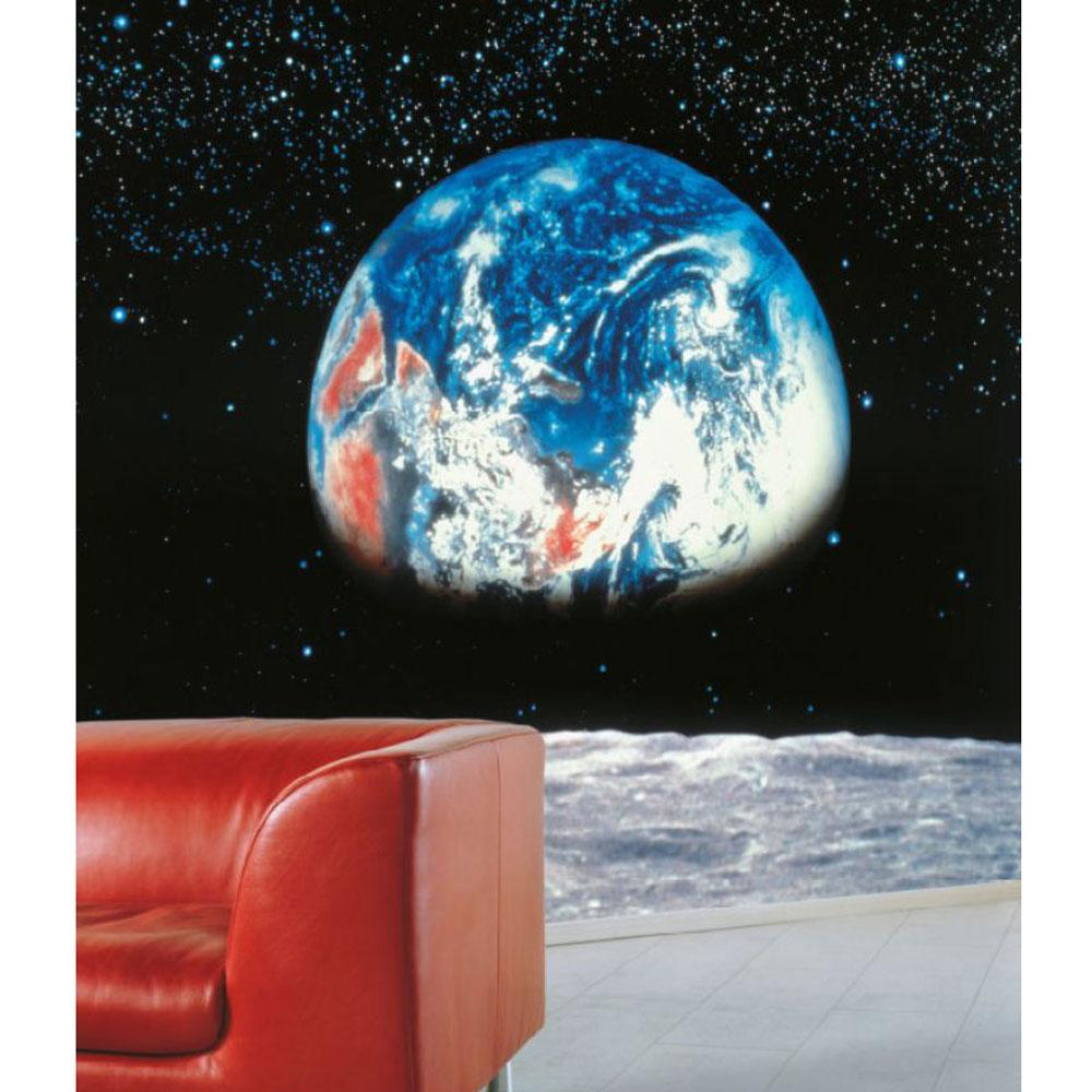 New earth from the moon large photo wall mural room decor for Earth rising wall mural