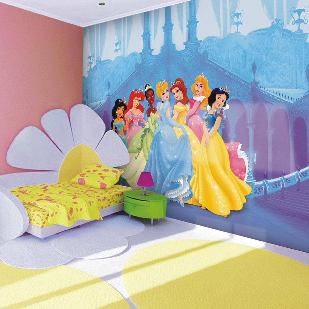 Childrens bedroom disney character wallpaper wall mural for Disney wall stencils for painting kids rooms