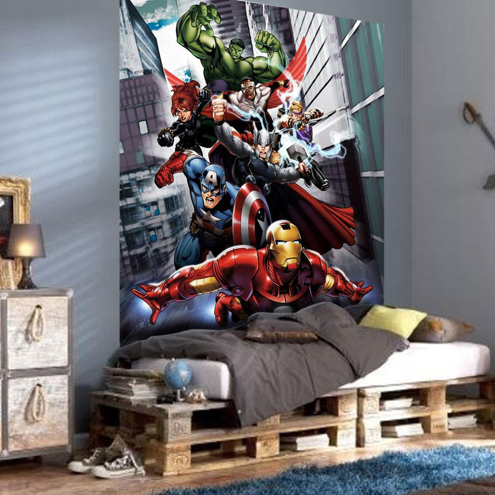 Marvel 39 avengers assemble 39 large photo wall mural room for Bedroom mural designs