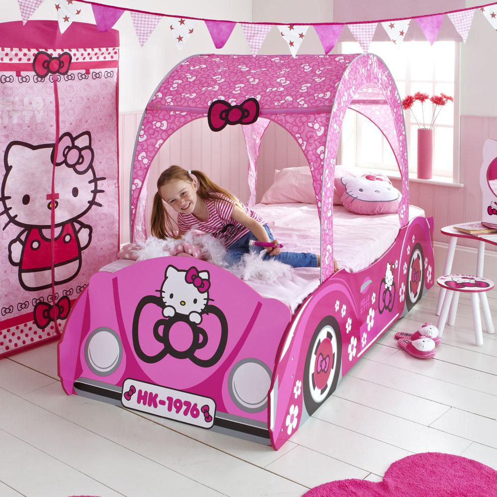 HELLO KITTY JUNIOR TODDLER BED FEATURE CAR NEW WITH SPRING