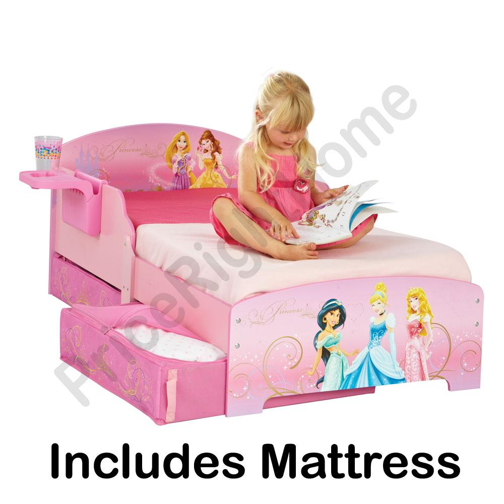 NEW DISNEY PRINCESS TODDLER BED STORAGE SHELF DELUXE