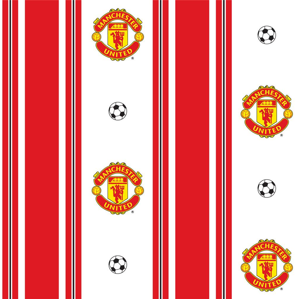 Manchester united 39 stripe 39 wallpaper new sealed decor for Man u bedroom ideas