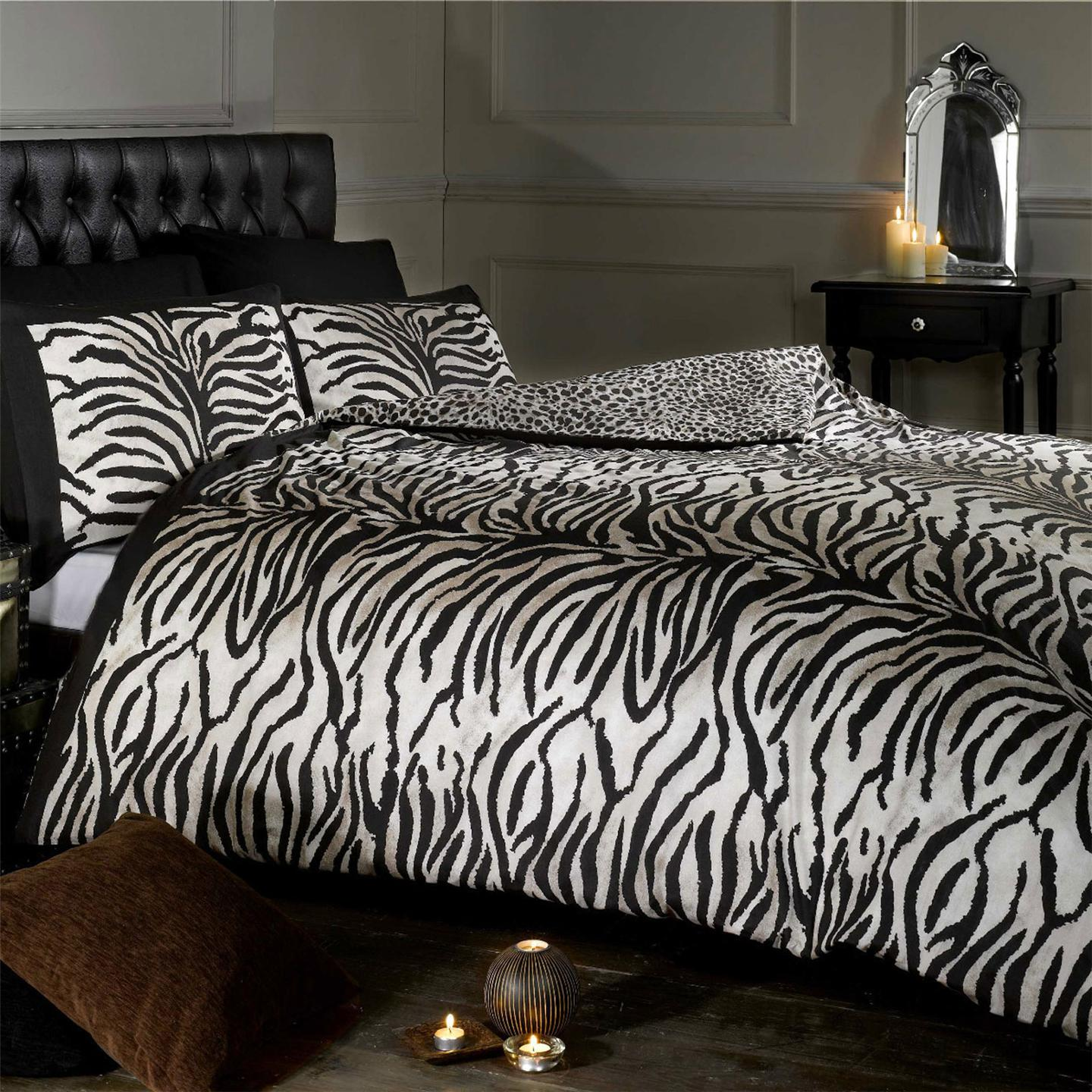tiger leopard imprimer r versible simple housse de couette et taie d 39 oreiller set. Black Bedroom Furniture Sets. Home Design Ideas