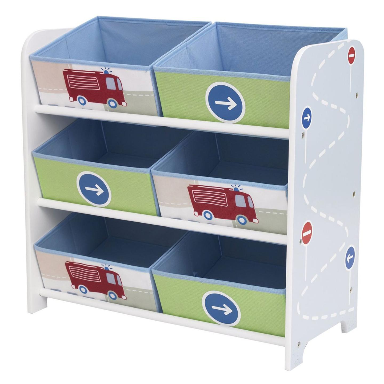 bin storage classic design mdf frame with 6 printed fabric storage