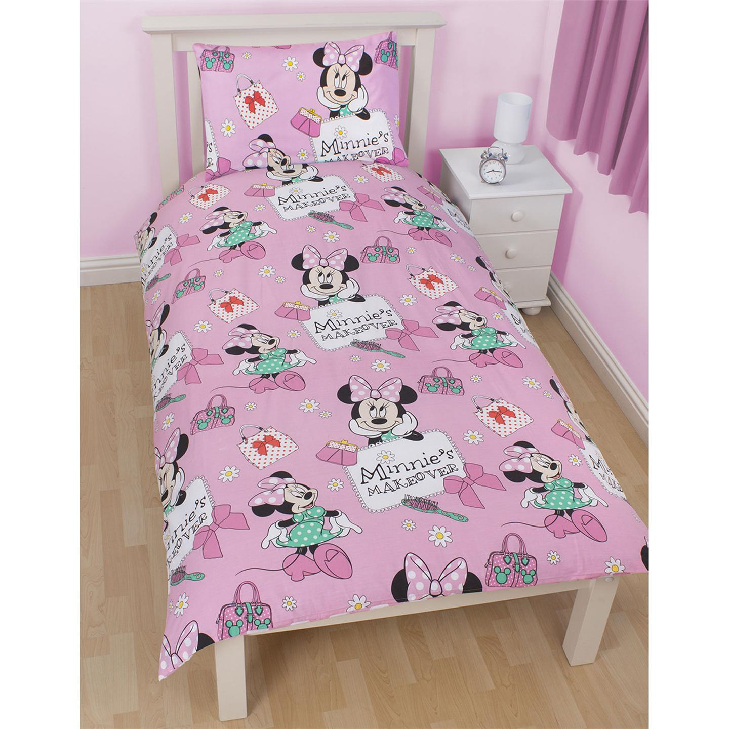 Disney minnie mouse makeover duvet cover matching 72 drop curtains new