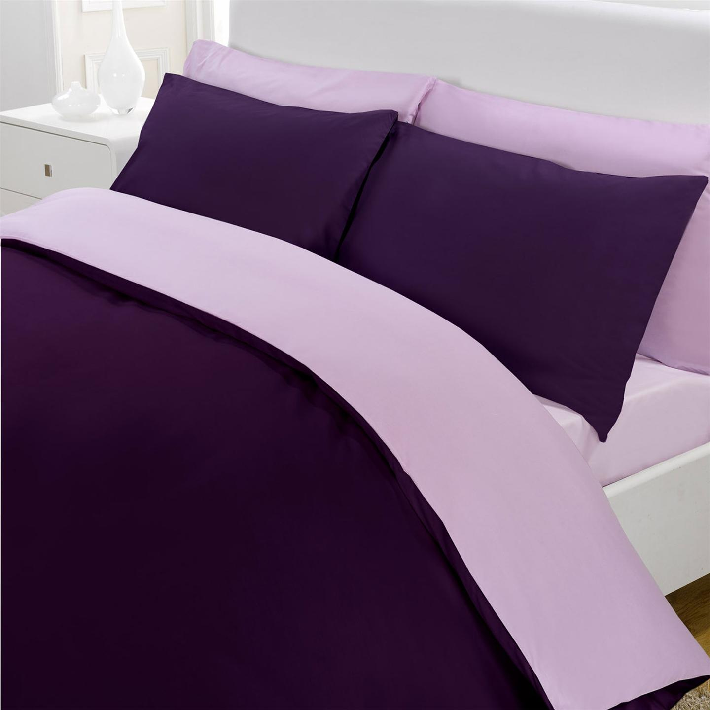 r versible percale luxe raisin lilas king set housse de couette neuf ebay. Black Bedroom Furniture Sets. Home Design Ideas