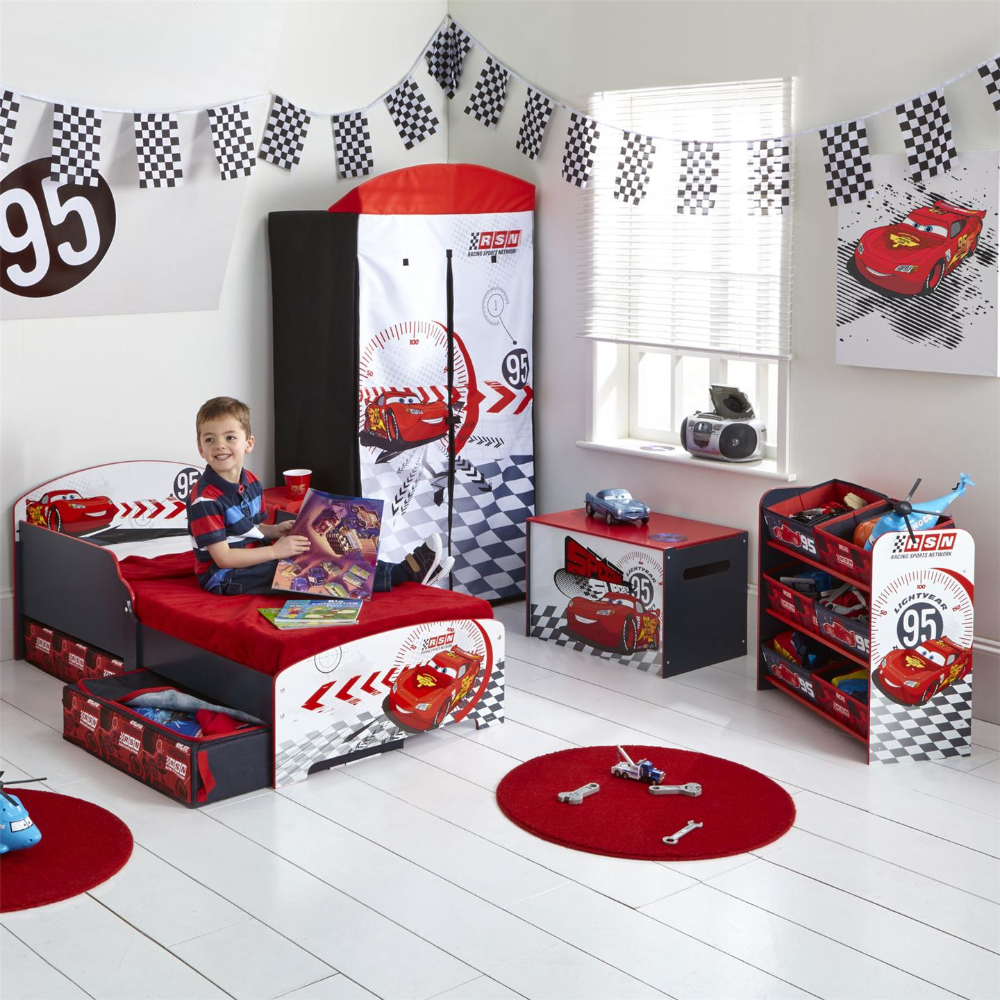 Disney cars toddler bed with underbed storage shelf for Boy car bedroom ideas