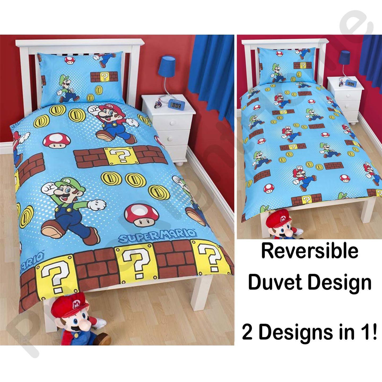 parure de lit housse de couette nintendo super mario bros 100 officiel ebay. Black Bedroom Furniture Sets. Home Design Ideas