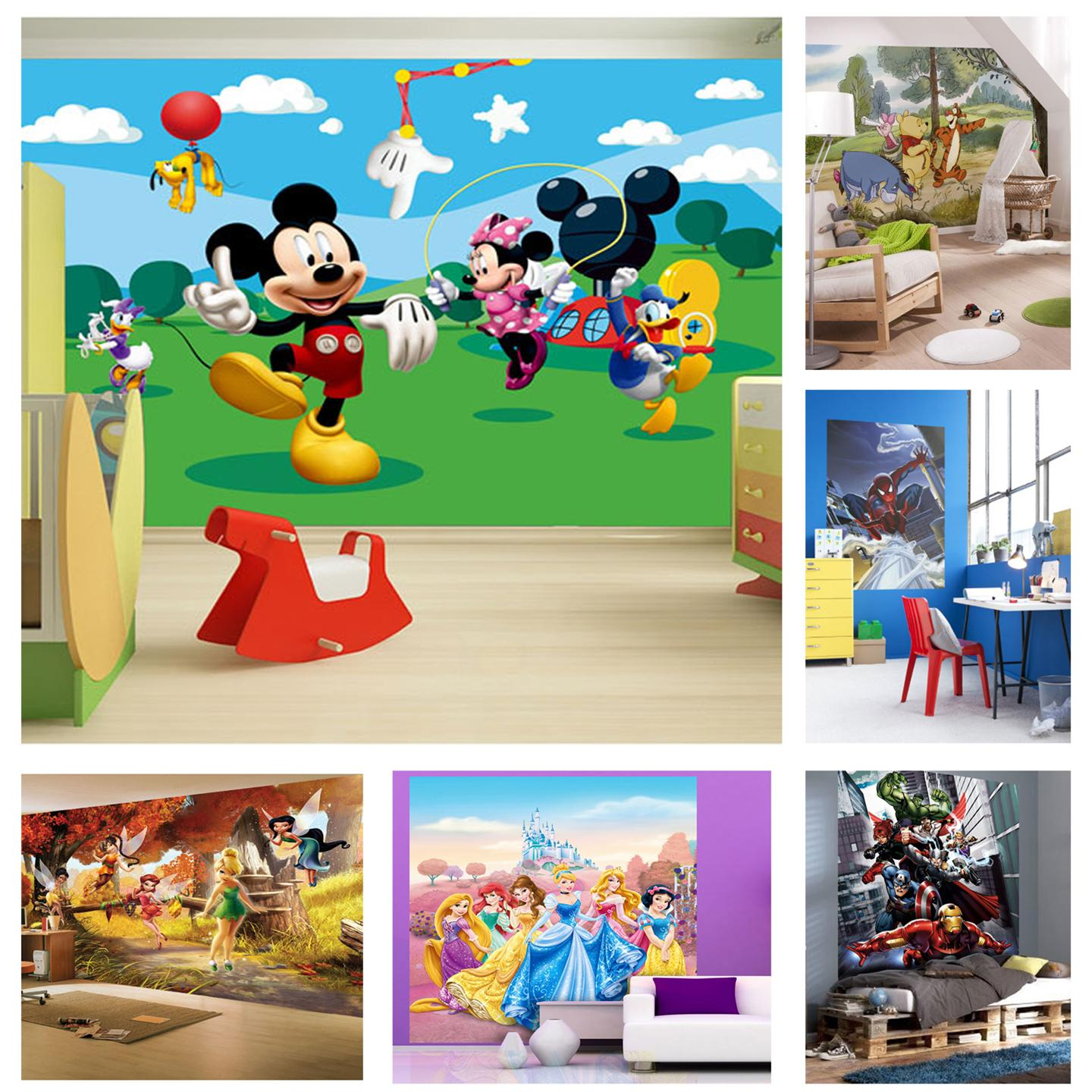 Childrens bedroom disney character wallpaper wall mural for Childrens room mural