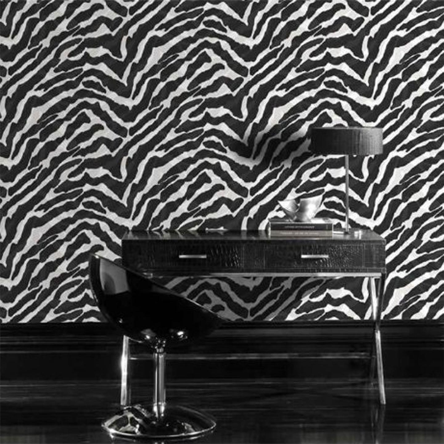 Black white zebra print wallpaper 10m new animal feature for Black and white mural prints