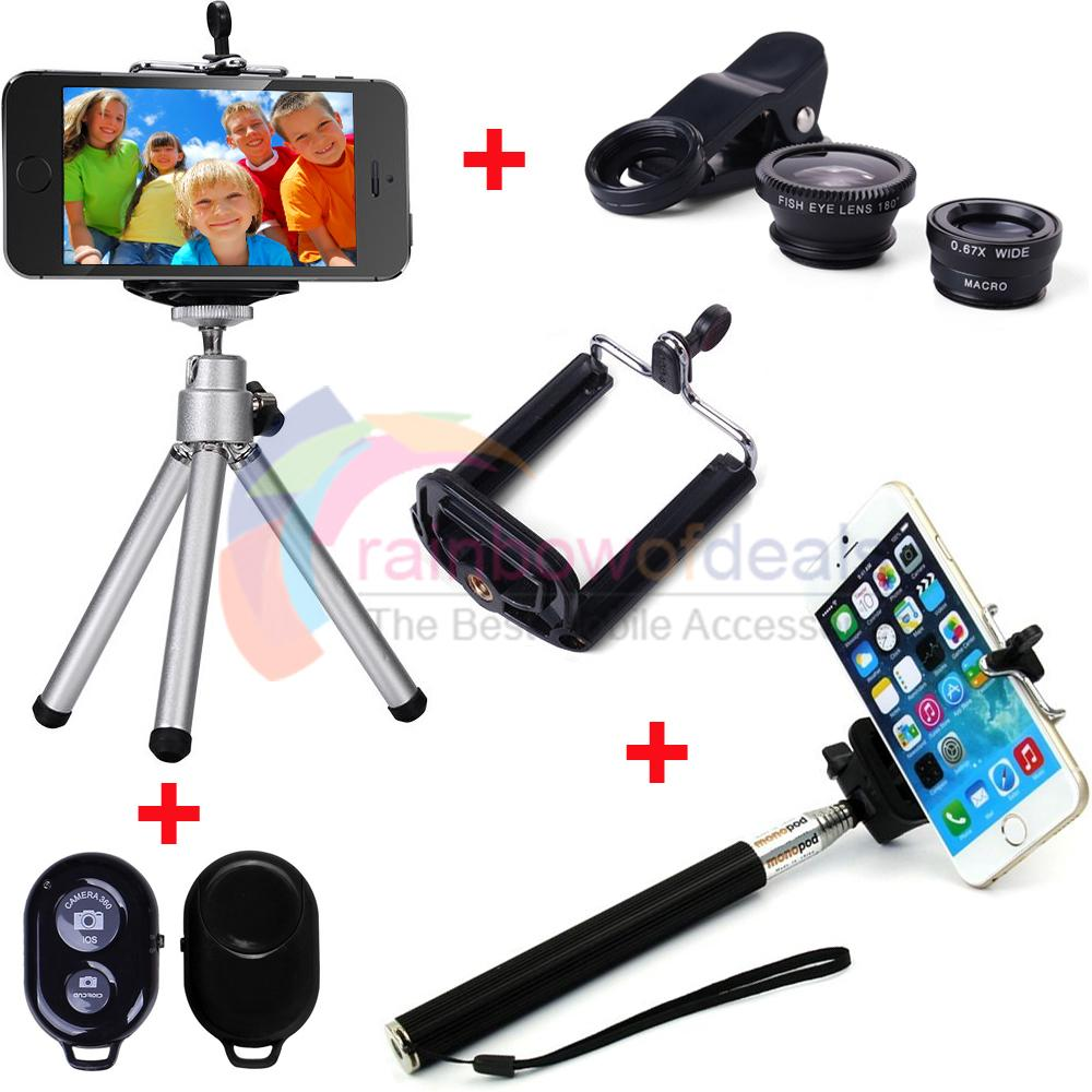 4 in1 bluetooth selfie stick monopod tripod camera lens for iphone 5s 6 plus. Black Bedroom Furniture Sets. Home Design Ideas