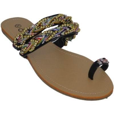 womens stunning beaded toe loop flat sandals black ebay