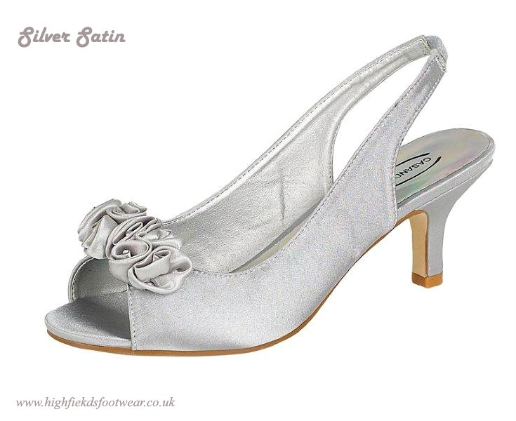 WOMENS LADIES SILVER SATIN DIAMANTE FLOWER WEDDING BRIDAL LOW HEEL SHOES SZ 5 9