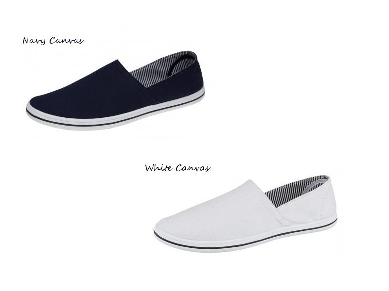 mens oxford style navy or white canvas deck boat loafers