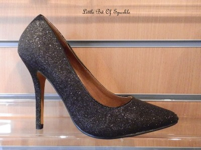 womens black sparkle silver glitter evening court