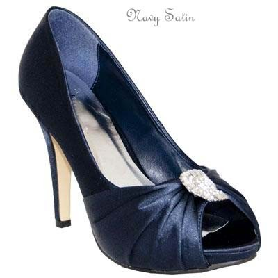 womens navy blue satin evening wedding prom dimante