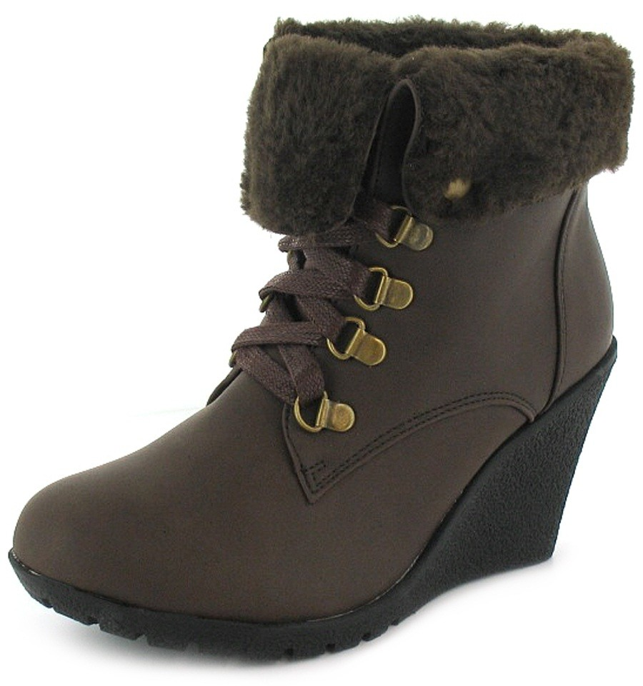 womens brown or black wedge ankle boots turn