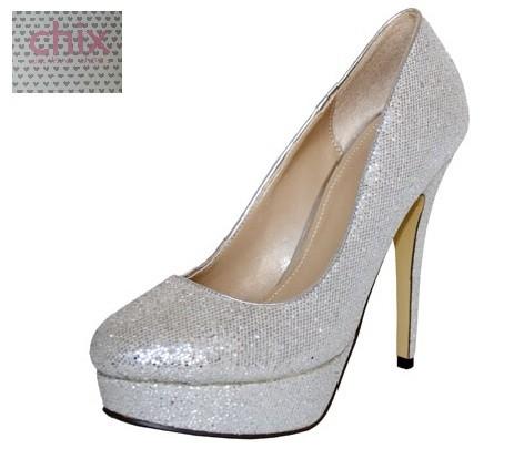 womens ladies silver glitter sparkle shimmer high heel. Black Bedroom Furniture Sets. Home Design Ideas