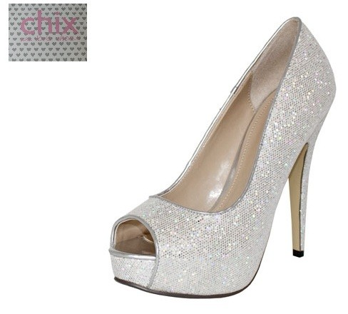 SILVER BLACK GOLD GLITTER SPARKLE SHIMMER PEEP TOE HIGH HEEL
