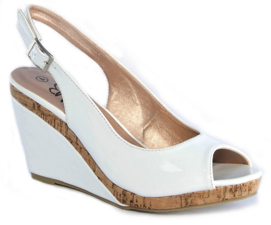 womens navy white patent cork wedge peep toe