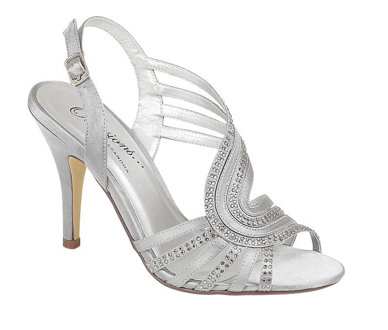 womens strappy silver satin evening sandals wedding