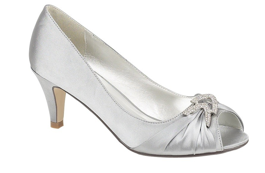 LADIES SILVER SATIN DIAMANTE EVENING WEDDING PEEP TOE LOW HEEL SHOES ALL SIZES