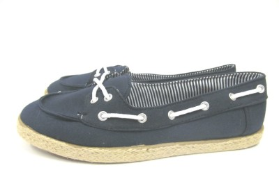 WOMENS LADIES STURDY NAVY OR WHITE CANVAS FLAT DECK ESPADRILLES SHOES