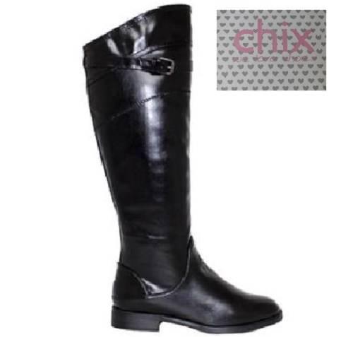 black soft faux leather knee high flat elastic